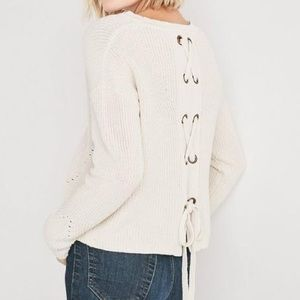 Lucky Brand Back Lace Up Sweater